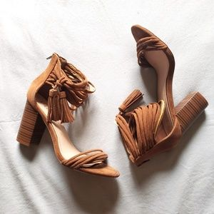 Liliana Brown Strappy Block Heels 6 w Fringes